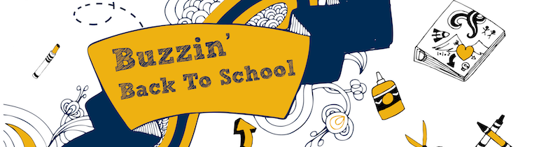 Buzzin' Back to School: Blue and gold hand-drawn art.